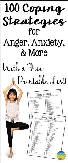Get your free printable list of 100 Coping Strategies here. Use this quick guide to help teach, practice, and choose the best coping strategies for your kids. #pathway2success #specialeducation #copingstrategies