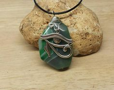 Egyptian Eye of Horus men's necklace. Agate by empoweredcrystals