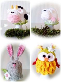 Gehäkelte Eierwärmer                                                                                                                                                      Mehr Crochet Egg Cozy, Crochet Pig, Crochet World, Easter Crochet, Love Crochet, Crochet Animals, Crochet Crafts, Hobbies And Crafts, Diy And Crafts