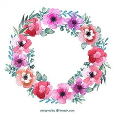 Floral wreath in pink colors Free Vector