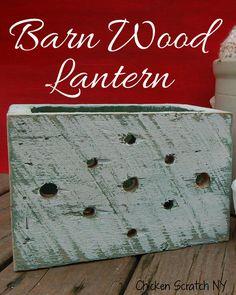 Barn Wood Luminary | http://chickenscratchny.com/2013/07/barn-wood-lantern.html | #Barnwood #DIY #rustic