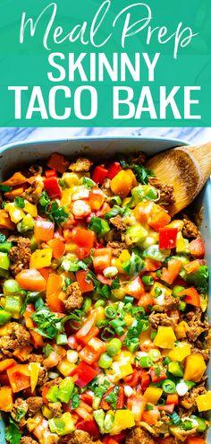 Meal Prep Skinny Taco Bake Recipe - Taco Casserole - The Girl on Bloor