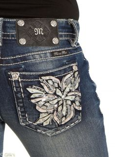 Women's #Fashion Clothing: Pants and #Jeans:  Miss Me Bootcut Dark #Blue Denim Jeans With #Floral Studded Pocket JP7512B: Clothes