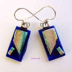 Piece of Mind Handmade Dichroic Glass Dangling Earrings Rainbow / Blue | Umeboshi - Jewelry on ArtFire