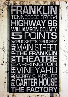 Subway Sign Franklin TN Reclaimed Wood Sign by SignNiche on Etsy, $55.00