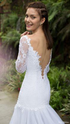 5293bf1fc3 noya bridal 2016 3 quarter sleeves split sweetheart fit flare wedding dress  (1205) bv