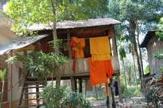 Monks' washing drying by the Well of Shadows, Battambang