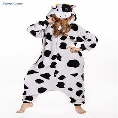 Pyjamas Entero Women Sleep Pajamas Sleepwear Animal Pajamas One Piece Pyjama Dairy cow Femme Home Clothing Pigiami #Affiliate