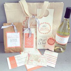 Wedding Guest Welcome Bag with Printed Canvas Tote & Accessories - 6 Customizable Design Options @Courtney Dunn