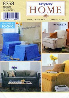 Sew Simple DIY Furniture Slip Cover Pattern Simplicity 8258 Designer Donna Lang Sofa/Couch, Arm Chair, Slipper Chair, Ottoman/Footstool by FindCraftyPatterns on Etsy