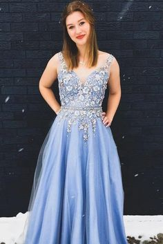 Buy Princess Blue V Neck Tulle Long Prom Dresses, Lace Appliques Straps Formal Dresses online.Shop short long ombre prom, homecoming, bridesmaid evening dresses at Couture Candy Cocktail party dresses, formal ball gowns in ombre colors.