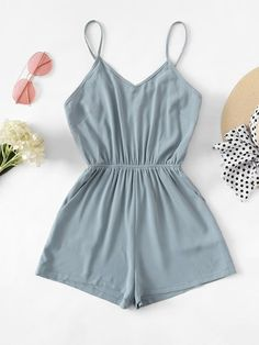 Solid Cross Back Cami Romper - Solid Cross Back Cami Romper -ROMWE Source by lien_thichai - Girls Fashion Clothes, Teen Fashion Outfits, Teenage Outfits, Girl Outfits, Tween Fashion, Shorts Outfits For Teens, Girl Fashion, Rompers For Teens, Rompers Women