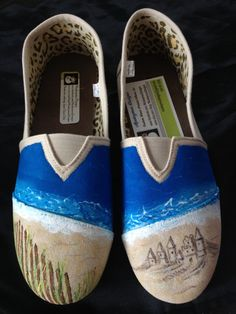 Beach ocean Themed Hand painted shoes by MonkeymouDesigns on Etsy, $35.00 www.facebook.com/MonkeymouDesigns
