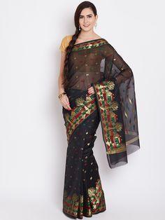 Buy Bunkar Black Patterned Banarasi Saree -  - Apparel for Women from Bunkar at Rs. 1000