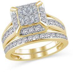 Zales 2 CT. T.W. Quad Princess-Cut Diamond Frame Bridal Set in 14K Gold