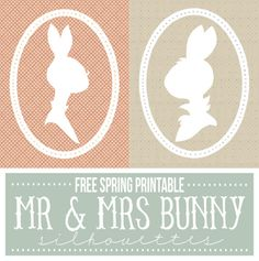 FREE printable Mr and Mrs bunny silhouettes!