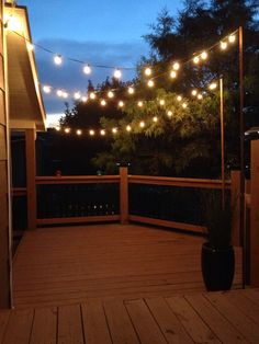 How to plan and hang patio lights pinterest patio lighting garden string lights on the back deck aloadofball Image collections