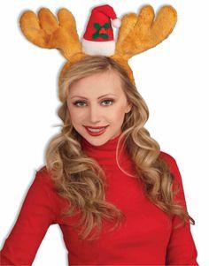 badce1f7b94 Deluxe Brown Christmas Costume Reindeer Antlers Headband With Hat