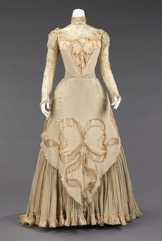 1890 male fashion | Photo of an evening dress by Herbert Luey, c. 1890. Note the high neck ...