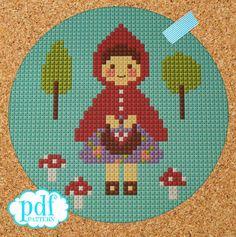 Little Red Riding Hood cross stitch, needlepoint, tapestry pattern. Fairytale PDF, instant digital download,epattern.