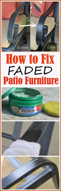 "33 Home Repair Secrets From the Pros - Fixing Faded Patio Furniture - Home Repair Ideas, Home Repairs On A Budget, Home Repair Tips, Living Room, Bedroom, Kitchen Repair, Home Improvement, Quick And Easy Home Tips <a href=""http://diyjoy.com/diy-home-repair-secrets"" rel=""nofollow"" target=""_blank"">diyjoy.com/...</a>"