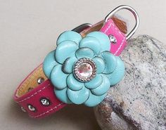 Hot Pink Aqua Italian Leather Crystal Rosey Collar  flower Dog Collar available at poochiepalace.com
