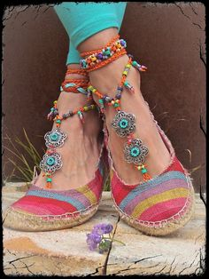 GYPSY summer BAREFOOT SANDALS soleless sandals beach wedding rainbow dance jewelry Anklet foot jewelry bohemian shoes Orange toe thong. $79.00, via Etsy.