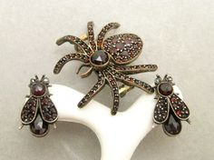 Antique Victorian Bohemian Garnet Spider Fly Bug Pin Earrings Set | eBay