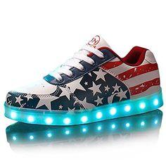 Zapatillas LED con la Bandera Americana, 7 Colores. Recargable por USB ⋆ Zapatillas24