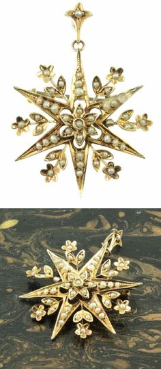 Antique Edwardian era star pendant with pearls. From Carus Jewellery. Edwardian Era, Victorian Era, Star Pendant, Gold Pendant, Antique Jewelry, Vintage Jewelry, Pearl Design, Silver Brooch, Gold Stars