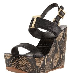 Tory Burch Angeline Snake Print Wedges 7.5 Lightweight black wedges with snake print. Beautiful gold Tory Burch hardware. Worn once and the bottoms reflect that  Otherwise perfect condition. Please feel free to ask for more pictures! Specs are shown in fourth picture Tory Burch Shoes Wedges