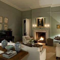 Drawing Room - traditional - Living Room - London - MG Interior Design Living Room Green, Green Rooms, New Living Room, Home And Living, Farrow And Ball Living Room, Cozy Living, Modern Living, London Living Room, Room London