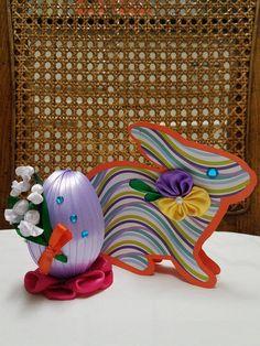 Easter egg, Easter Ornaments, Basket Eggs, Easter Decor, Handmade, Kanzashi, Easter decorations, Card, Handmade Card Easter card Bunny card by MilasHairBows on Etsy