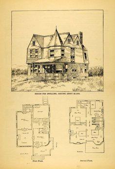 1891 Print Architectural Design Floor Plans Victorian House C. Stilson New MAB1