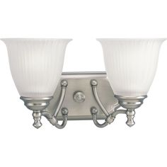 Progress Lighting P2730 Renovations Two-Light Bathroom Fixture with Etched Glass Antique Nickel Indoor Lighting Bathroom Fixtures Vanity Light