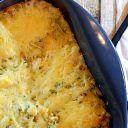 Witte bonen ovenschotel met gehakt, courgette, champignons en mozzarella