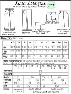 Linen Loungers - Patterns for Pirates Pdf Sewing Patterns, Clothing Patterns, Patterns For Pirates, Yoga Band, High Hips, Back Patch, Measurement Chart