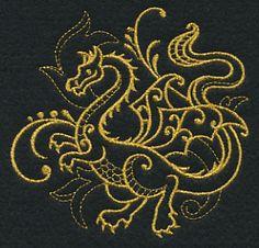 Dragon Filigree (Goldwork) design (L9709) from www.Emblibrary.com