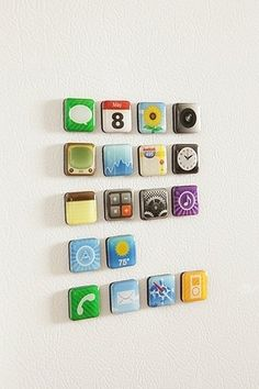 App Magnets #iPhone icons $16.00. When click, also have the PB teen beanbag chair in fuzzy white for 249.00