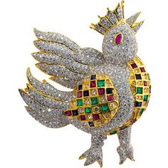 """1STDIBS.COM Jewelry & Watches - Whimsical diamond and multi color """"the bird king"""" brooch - TMW Jewels Co."""