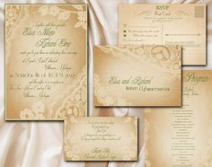 Champagne Lace Wedding Set - Printable, completely customizable #diy #wedding #invitations