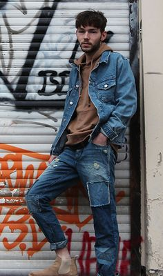 Berlin street style: denim on denim broke up with a touch of camel boots and hoodie #jackandjones