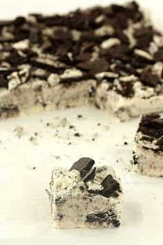 Oreo Fudge - tastes just like the cream filling of an Oreo. No need for a candy thermometer either.
