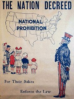 1920 - 1933 -- Prohibition. The sale of alcohol was banned through the 18th Amendment