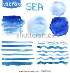 Watercolor hand painting textures stains,spot,wavy brushes set.Light blue,cyan,color.Bright design template,elements.Vintage blur vector,summer background.Holiday,vacation artistic sea wave,water,sky