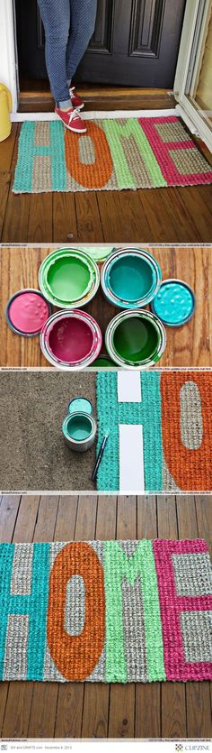 DIY Welcome Mat | #DIY This is painted but you could do one with strips of scrap fabric and a very good upholstery needle -- or not! easy peasy....