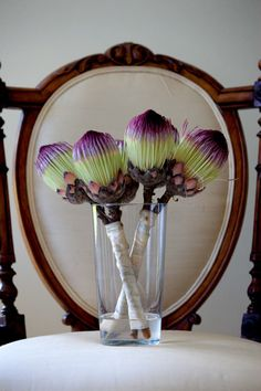 Creative purple and green protea wedding bouquets, photo by Greg Lumley Photography