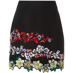 MSGM - embroidered floral mini skirt - women -... (€915) ❤ liked on Polyvore featuring skirts, mini skirts, bottoms, black, floral mini skirt, embroidered mini skirt, short floral skirt, rayon skirt and colorful skirts