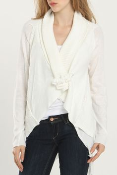 MONORENO BY MUR Lacey Cardigan In Off White