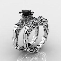 Art Masters Caravaggio Black and White Gold Ct Princess Black Diamond Engagement Ring Wedding Band Set Skull Engagement Ring, Sapphire Diamond Engagement, Halo Engagement, Bridal Rings, Wedding Jewelry, Wedding Rings, Skull Wedding Ring, Ring Set, Ring Verlobung